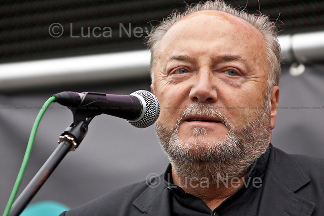"""George Galloway, British politician - 2011<br /> <br /> London, 08/10/2011. Today Trafalgar Square was the stage of the """"Antiwar Mass Assembly"""" organised by The Stop The War Coalition to mark the 10th Anniversary of the invasion of Afghanistan. Thousands of people gathered in the square to listen to speeches given by journalists, activists, politicians, trade union leaders, MPs, ex-soldiers, relatives and parents of soldiers and civilians killed during the conflict, and to see the performances of actors, musicians, writers, filmmakers and artists. The speakers, among others, included: Jeremy Corbin, Joe Glenton, Seumas Milne, Brian Eno, Sukri Sultan and Shadia Edwards-Dashti, Hetty Bower, Mark Cambell, Sanum Ghafoor, Andrew Murray, Lauren Booth, Kate Hudson, Sami Ramadani, Yvone Ridley, Mark Rylance, Dave Randall, Roger Lloyd-Pack, Rebecca Thorn, Sanasino al Yemen, Elvis McGonagall, Lowkey (Kareem Dennis), Tony Benn, John Hilary, Bruce Kent, John Pilger, Billy Hayes, Alison Louise Kennedy, Joan Humpheries, Jemima Khan, Julian Assange, Lindsey German, George Galloway. At the end of the speeches a group of protesters marched toward Downing Street where after a peaceful occupation the police made some arrests."""