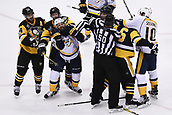 8th June 2017, Pittsburgh, PA, USA; NHL linesman Brian Murphy (93) and linesman Scott Cherrey (50) separate Pittsburgh Penguins center Matt Cullen (7) and Nashville Predators right wing Harry Zolnierczyk (26) along with Pittsburgh Penguins defenseman Trevor Daley (6) and Nashville Predators center Colton Sissons (10) during the third period. Game Five was won 6-0 by the Pittsburgh Penguins against the Nashville Predators during the 2017 NHL Stanley Cup Final on June 8, 2017, at PPG Paints Arena in Pittsburgh, PA. The Penguins take a 3-2 series lead in the best of seven series with the victory.