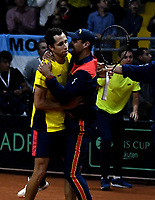 BOGOTA-COLOMBIA, 07-03-2020: Alejandro Falla, capitan celebra con Daniel Galan, al ganar la serie de los partidos de los enfrentamientos para Las clasificatorias Copa Davis by Rakuten 2020 entre Colombia y Argentina en el Palacio de los Deportes en la ciudad de Bogota. / Alejandro Falla, captain celebrates with Daniel Galan, winning the series of matches of the clashes for the Davis Cup by Rakuten 2020 qualifiers between Colombia and Argentina at the Palacio de los Deportes in Bogota city. / Photo: VizzorImage / Luis Ramirez / Staff.