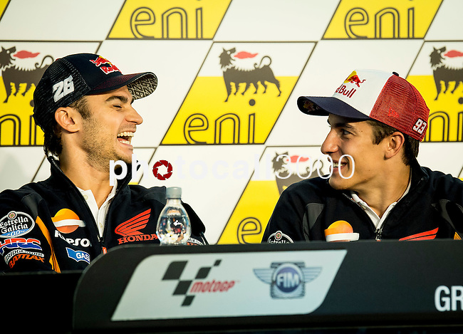 Press conference after the qualifying practice of motoGP. Dani Pedrosa and Marc Marquez. 07/12/2014. Sachsenring. Germany. Samuel de Roman / Photocall3000.