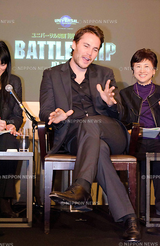 "January 31st, 2012 : Tokyo, Japan – Taylor Kitsch appears at a press conference for the film ""BATTLESHIP"" by Peter Berg in the Grand Hyatt Tokyo. This film is about the battle against the aliens and a love story. Taylor Kitsch,.Alexander Skarsgård, Brooklyn Decker, Rihanna, Liam Neeson, and Japanese actor Tadanobu Asano play as main characters in the movie. It will be released from April, 2012 in Japan. (Photo by Yumeto Yamazaki/AFLO)"