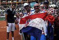 BOGOTA - COLOMBIA – 17 – 09 -2019: Marin Cilic de Croacia, celebra con los fanáticos la victoria sobre de Colombia, durante partido de la Copa Davis entre los equipos de Colombia y Croacia, partidos por el ascenso al Grupo Mundial de Copa Davis por BNP Paribas, en la Plaza de Toros La Santamaria en la ciudad de Bogota. / Marin Cilic of Croatia, celebrates with the fans the victory over Colombia during the Davis Cup match between the teams of Colombia and Croatia, parties for the promotion to the World Group Davis Cup by BNP Paribas, at the La Santamaria Ring Bull in Bogota city. / Photo: VizzorImage / Luis Ramirez / Staff.