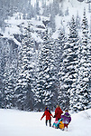 Family crossing deep snow with tobaggan, Rocky Mtns, CO