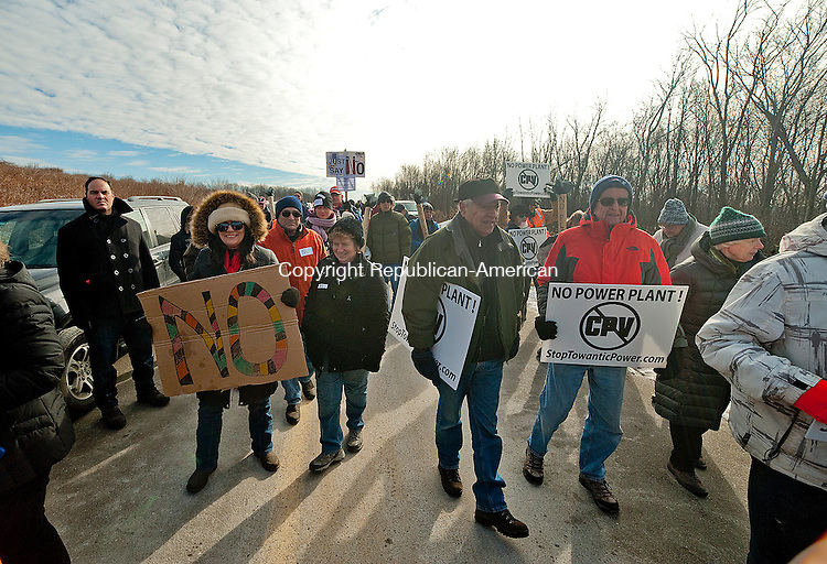 OXFORD,  CT-011415JS05- Opponents to the power plant make their way to the site during a field review by members of the Siting Council at the proposed site for the CPV Towantic Energy Center in Oxford on Thursday. <br />  Jim Shannon Republican-American