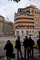 Rome, Italy. 22th January 2016<br /> A general view shows an appartment building that collapsed. People were evacuated after a resident heard strange noises and raised the alarm before the building collapsed. There is no victims and an investigation is under way.