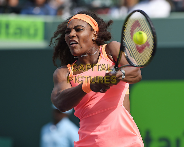 KEY BISCAYNE, FL - MARCH 28: Serena Williams Vs Monica Niculescu during the Miami Open at Crandon Park Tennis Center on March 28, 2015 in Key Biscayne, Florida. <br /> CAP/MPI/MPI04<br /> &copy;MPI04/MPI/Capital Pictures