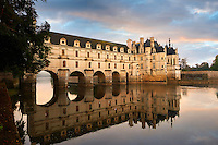 The Chateau de Chenonceau designed by French Renaissance architect Philibert de l'Orme 1555 by  to span the River Char. Loire Valley. Chenonceaux,  Indre-et-Loire département France.