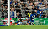 Phil Jagielka of Everton somehow stops Michy Batshuayi of Chelsea from scoring during the Carabao Cup round of 16 match between Chelsea and Everton at Stamford Bridge, London, England on 25 October 2017. Photo by Andy Rowland.