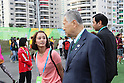 (L-R) Rie Tanaka, Yoshiro Mori, <br /> AUGUST 2, 2016 : <br /> Welcome ceremony for the Japanese delegation <br /> during the Rio 2016 Olympic Games <br /> at Athlete's Village, in Rio de Janeiro, Brazil. <br /> (Photo by Yohei Osada/AFLO SPORT)
