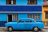 Old blue car.