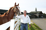 Owner Ernie Denofa with one of the many thoroughbreds at Westampton Farm and Training Center in Westampton, New Jersey