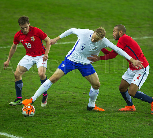 29.03.2016 Ullevaal Stadion, Oslo, Norway Ruben Yttergard Jenssen of Norway challenges Tim Vayrynen of Finland with help from Haitam Alesaami of Norway during the International Football Friendly match  between Norway and Finland at the Ullevaal Stadion in Oslo, Norway.  Norway ran out 2-0 winners of the game.