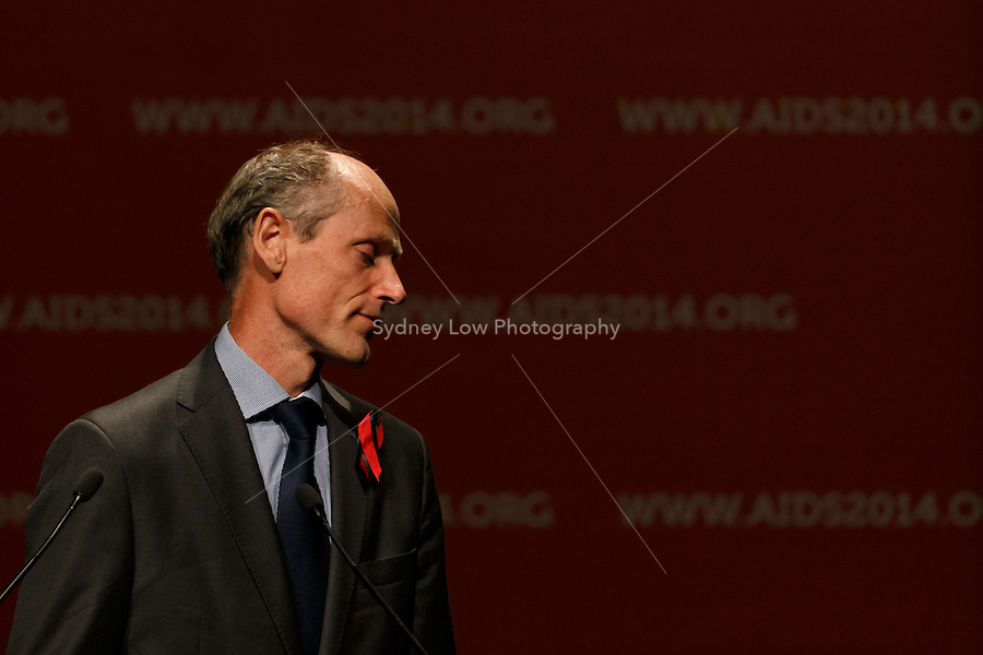 Lambert Grijns, the Dutch Ambassador for Sexual and Reproductive Health and Rights &amp; HIV/AIDS pays tribute to MH17 victims at the opening session of the 20th International AIDS Conference (AIDS 2014) at The Melbourne Convention and Exhibition Centre.<br /> For licensing of this image please go to http://demotix.com