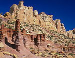 Grand Staircase - Escalante National Monument, UT<br /> Multicolored sandstone pillars in Long Canyon along the Burr Trail road