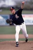 Jim Abbott of the California Angels during a 1995  spring training game at Tempe Diablo Stadium in Tempe,Arizona.(Larry Goren/Four Seam Images)