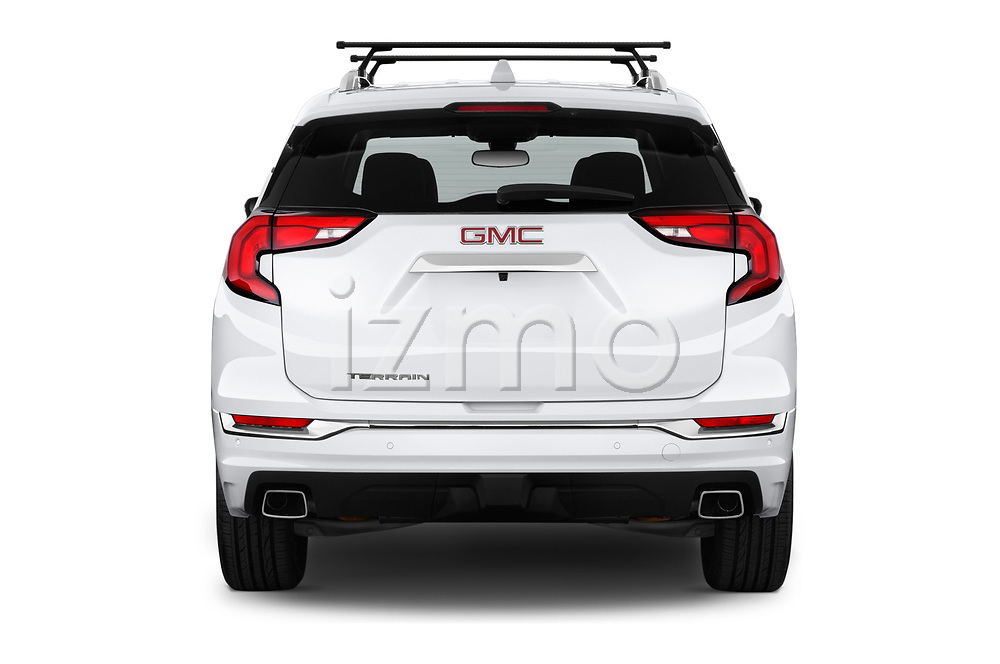 Straight rear view of a 2018 GMC Terrain Denali base 5 Door SUV stock images