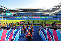 The England players make their way onto the pitch of the Manchester City Stadium. England Captain's Run on October 9, 2015 at Manchester City Stadium in Manchester, England. Photo by: Patrick Khachfe / Onside Images