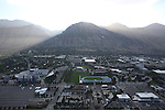 1309-22 0565<br /> <br /> 1309-22 BYU Campus Aerials<br /> <br /> Brigham Young University Campus West looking East, Provo, Sunrise, Y Mountain, Lavell Edwards Stadium LES, Outdoor Track  and Field Complex TRAK <br /> <br /> September 7, 2013<br /> <br /> Photo by Jaren Wilkey/BYU<br /> <br /> © BYU PHOTO 2013<br /> All Rights Reserved<br /> photo@byu.edu  (801)422-7322