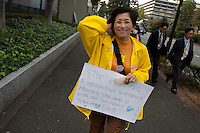 Yuko Yatabe at an Anti nuclear protest by women outside the Ministry of Economy, Trade and Industry (METI) in Tokyo Japan. Friday November 4th 2011. The protest ran from October 27th to Noverber 5th. Originally started my mothers from Fukushima protesting about nuclear contamination from October 30th to November 5th the protest welcomed women and people from all over Japan.