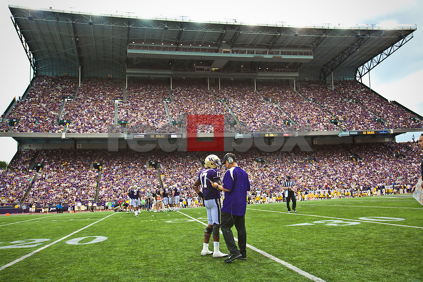 Steve Sarkisian - Head Coach, Keith Price, quarterback..---------University of Washington (UW) vs. University of California-Berkley (Cal) at Husky Stadium on Saturday, September 24, 2011. (Photo by Dan DeLong/Red Box Pictures)