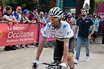 World Champion Alejandro Valverde (ESP) Movistar Team arrives at sign on before the start of Stage 1 of the Route d'Occitanie 2019, running 175.5km from Gignac-Vallée de l'Hérault to Saint-Geniez-d'Olt-et-d'Aubrac , France. 20th June 2019<br /> Picture: Colin Flockton | Cyclefile<br /> All photos usage must carry mandatory copyright credit (© Cyclefile | Colin Flockton)