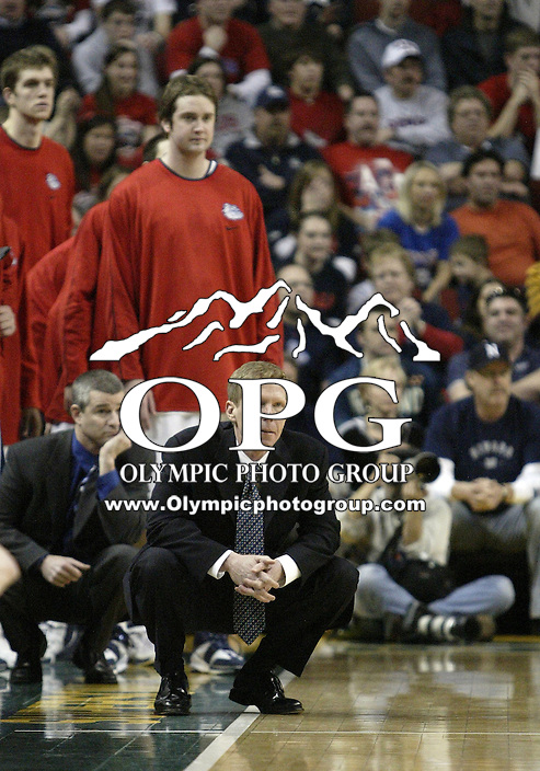 """30 December 2005:  Gonzaga Bulldogs head coach Mark Few watches from the sidelines as his team makes a basket against the Nevada Wolf Pack at Key Arena in the fourth annual """"Battle of Seattle"""" Seattle, WA. Nevada won 82-74 over the Gonzaga Bulldogs."""