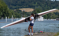 "Henley on Thames, United Kingdom, 24th June 2018, Sunday, ""Henley Women's Regatta"", view, Women's Single Sculler, floats her Boat, Henley Reach, River Thames, Thames Valley, England, © Peter SPURRIER,  24/06/2018"