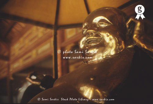 Vietnam, Thua Thien-hue, Hue, golden Buddha in Thien Mu Pagoda (Licence this image exclusively with Getty: http://www.gettyimages.com/detail/200388012-001 )