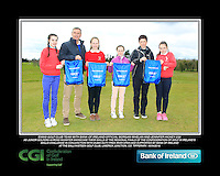 Ennis GC team with Bank of Ireland Official Morgan Whelan and CGI Participation Officer Jennifer Hickey with Junior golfers across Munster practicing their skills at the regional finals of the Dubai Duty Free Irish Open Skills Challenge at the Ballykisteen Golf Club, Limerick Junction, Co. Tipperary. 16/04/2016.<br /> Picture: Golffile | Thos Caffrey<br /> <br /> <br /> <br /> <br /> <br /> All photo usage must carry mandatory copyright credit (© Golffile | Thos Caffrey)