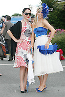 5/8/2010.Blossom Hill Ladies Day. Nadia Taylor from Clare and Aisling Brennan from Westmeath are pictured at the Blossom Hill Ladies Day at the Fáilte Ireland Dublin Horse Show at RDS. Picture James Horan/Collins Photos