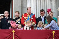 Prince Philip, Duke of Edinburgh; Catherine, Duchess of Cambridge; Princess Charlotte; Prince George &amp; Prince William, Duke of Cambridge; Peter &amp; Autumn Phillips; Savannah &amp; Isla Phillips on the balcony of Buckingham Palace following the Trooping of the Colour Ceremony celebrating the Queen's official birthday. London, UK. <br /> 17 June  2017<br /> Picture: Steve Vas/Featureflash/SilverHub 0208 004 5359 sales@silverhubmedia.com