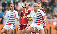 Houston, TX - Sunday April 8, 2018: Allie Long during an International friendly match versus the women's National teams of the United States (USA) and Mexico (MEX) at BBVA Compass Stadium.