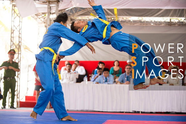 Myanmar athletes compete during the Vovinam Men's competition on Day Nine of the 5th Asian Beach Games 2016 at Bien Dong Park on 02 October 2016, in Danang, Vietnam. Photo by Marcio Machado / Power Sport Images