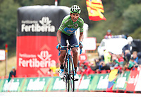 ESPAÑA, 01-09-2019: Nairo Quintana (ESP - MOVISTAR)  a su llegada en segundo lugar de la etapa 9, hoy, 01 de septiembre de 2019, que se corrió entre Andorra la Vella y Cortals d'Encamp con una distancia de 94,4 km como parte de La Vuelta a España 2019 que se disputa entre el 24/08 y el 15/09/2019 en territorio español. / Nairo Quintana (ESP - MOVISTAR) finished 2nd at the end of the stage 9 today, September 01, 2019, from Andorra la Vella to Cortals d'Encamp with a distance of 94,4 km as part of Tour of Spain 2019 which takes place between 08/24 and 09/15/2019 in Spain.  Photo: VizzorImage / Luis Angel Gomez / ASO<br /> VizzorImage PROVIDES THE ACCESS TO THIS PHOTOGRAPH ONLY AS A PRESS AND EDITORIAL SERVICE AND NOT IS THE OWNER OF COPYRIGHT; ANOTHER USE HAVE ADDITIONAL PERMITS AND IS  REPONSABILITY OF THE END USER