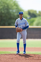 AZL Royals starting pitcher Delvin Capellan (14) gets ready to deliver a pitch during an Arizona League game against the AZL Padres 1 at Peoria Sports Complex on July 4, 2018 in Peoria, Arizona. The AZL Royals defeated the AZL Padres 1 5-4. (Zachary Lucy/Four Seam Images)