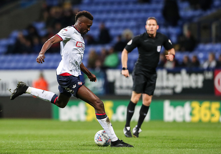 Bolton Wanderers' Sammy Ameobi shoots at goal  <br /> <br /> Photographer Andrew Kearns/CameraSport<br /> <br /> The EFL Sky Bet Championship - Bolton Wanderers v Middlesbrough -Tuesday 9th April 2019 - University of Bolton Stadium - Bolton<br /> <br /> World Copyright © 2019 CameraSport. All rights reserved. 43 Linden Ave. Countesthorpe. Leicester. England. LE8 5PG - Tel: +44 (0) 116 277 4147 - admin@camerasport.com - www.camerasport.com
