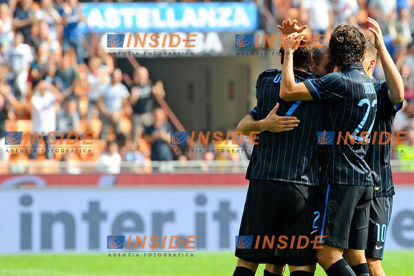 Esultanza giocatori Inter<br /> Milano 28-09-2014 Stadio Giuseppe Meazza - Football Calcio Serie A Inter - Cagliari. Foto Giuseppe Celeste / Insidefoto