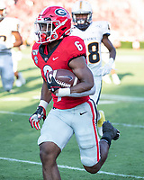 ATHENS, GA - SEPTEMBER 7: Kenny McIntosh #6 makes a run against Murray State during a game between Murray State Racers and University of Georgia Bulldogs at Sanford Stadium on September 7, 2019 in Athens, Georgia.