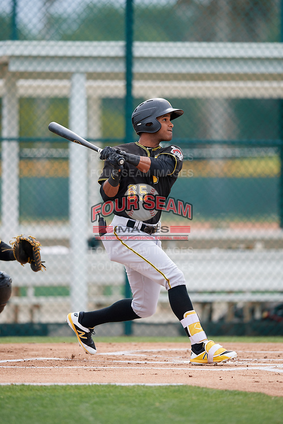 Pittsburgh Pirates Michael de la Cruz (65) during a Minor League Spring Training Intrasquad game on March 31, 2018 at Pirate City in Bradenton, Florida.  (Mike Janes/Four Seam Images)
