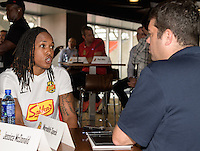 Houston, TX - Thursday Oct. 06, 2016: Jessica McDonald during media day prior to the National Women's Soccer League (NWSL) Championship match between the Washington Spirit and the Western New York Flash at BBVA Compass Stadium.