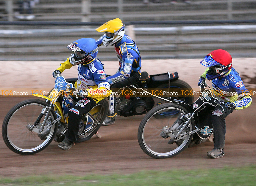 Heat 15 - Louis (red), Jensen (blue), Watt - Ipswich Witches vs Lakeside Hammers - Elite League Speedway at Arena Essex - 21/06/07 - MANDATORY CREDIT: Gavin Ellis/TGSPHOTO - SELF-BILLING APPLIES WHERE APPROPRIATE. NO UNPAID USE -  Tel: 0845 0946026