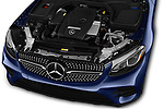 Car stock 2018 Mercedes Benz GLC Coupe GLC300 4WD 5 Door SUV engine high angle detail view