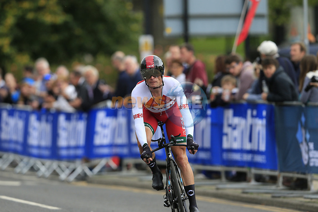 Vasil Kiryienka (BLR) in action during the Men Elite Individual Time Trial of the UCI World Championships 2019 running 54km from Northallerton to Harrogate, England. 25th September 2019.<br /> Picture: Eoin Clarke | Cyclefile<br /> <br /> All photos usage must carry mandatory copyright credit (© Cyclefile | Eoin Clarke)