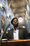 Ben Okri rehearsing biblical reading at Christ Church Cathedral for Festival Choral Evensong during the Sunday Times Oxford Literary Festival, UK, 24 March - 1 April 2012. ..PHOTO COPYRIGHT GRAHAM HARRISON .graham@grahamharrison.com.+44 (0) 7974 357 117.Moral rights asserted.