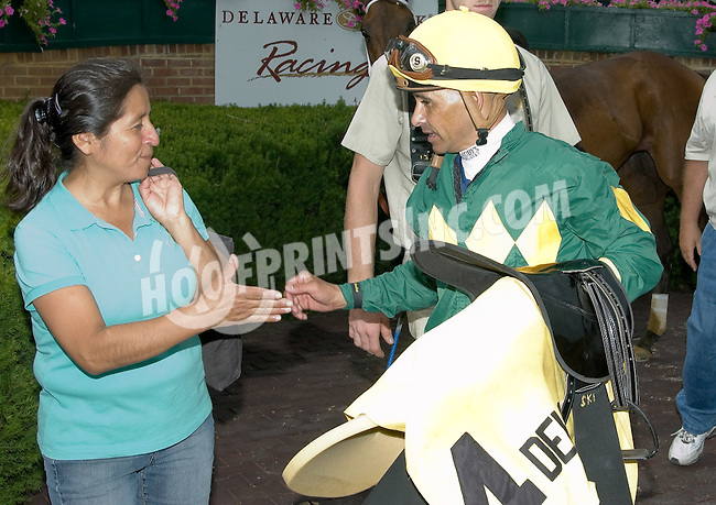 Mike Smith after winning The Dashing Beauty Stakes aboard Dust and Diamonds  at Delaware Park on 7/21/12