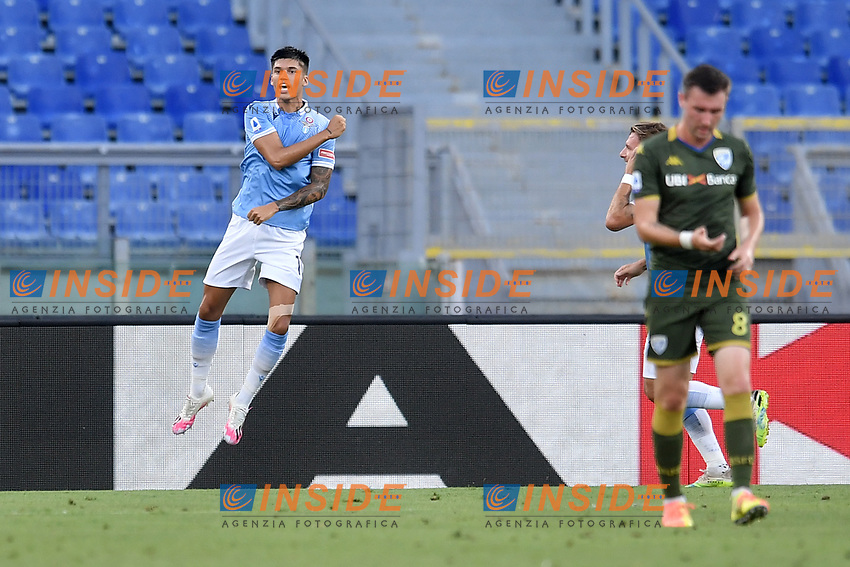 Joaquin Correa of Lazio celebrates after scoring a goal 1-0<br /> during the Serie A football match between SS Lazio  and Brescia Calcio at stadio Olimpico in Roma (Italy), July 29th, 2020. Play resumes behind closed doors following the outbreak of the coronavirus disease. <br /> Photo Antonietta Baldassarre / Insidefoto