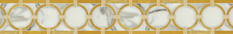 """6"""" Hoopla border, a hand-cut mosaic shown in honed Sylvia Gold, Jerusalem Gold, and polished Calacatta Tia by New Ravenna."""