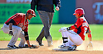 7 March 2011: Washington Nationals' infielder Alberto Gonzalez slides safely into second with a double during a Spring Training game against the Houston Astros at Space Coast Stadium in Viera, Florida. The Nationals defeated the Astros 14-9 in Grapefruit League action. Mandatory Credit: Ed Wolfstein Photo
