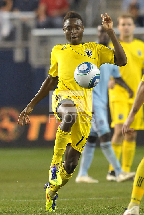 Emmanuel Ekpo  (17) midfielder Columbus Crew in action... Sporting Kansas City defeated Columbus Crew 2-1 at LIVESTRONG Sporting Park, Kansas City, Kansas.