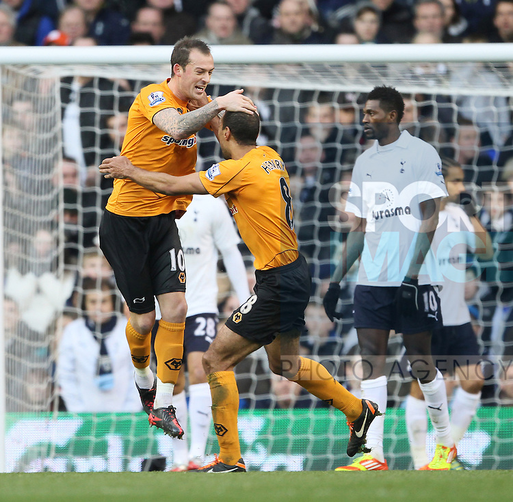 Wolves Steven Fletcher celebrates scoring his sides opening goal..Tottenham v Wolves in the the Barclays Premiership, at the White Hart Lane, London. 14th January 2012.--------------------.Sportimage +44 7980659747.picturedesk@sportimage.co.uk.http://www.sportimage.co.uk/.Editorial use only. Maximum 45 images during a match. No video emulation or promotion as 'live'. No use in games, competitions, merchandise, betting or single club/player services. No use with unofficial audio, video, data, fixtures or club/league logos.
